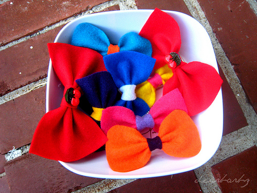 felt bow barrettes & brooches